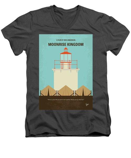 Men's V-Neck T-Shirt featuring the digital art No760 My Moonrise Kingdom Minimal Movie Poster by Chungkong Art