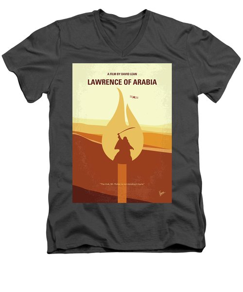 Men's V-Neck T-Shirt featuring the digital art No772 My Lawrence Of Arabia Minimal Movie Poster by Chungkong Art