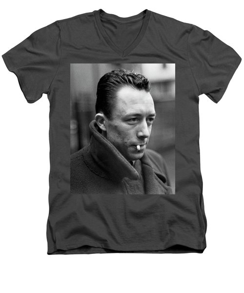 Nobel Prize Winning Writer Albert Camus Unknown Date #1 -2015 Men's V-Neck T-Shirt by David Lee Guss