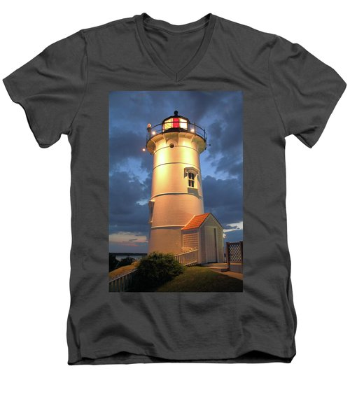 Men's V-Neck T-Shirt featuring the photograph Nobska Point Lighthouse by Roupen  Baker