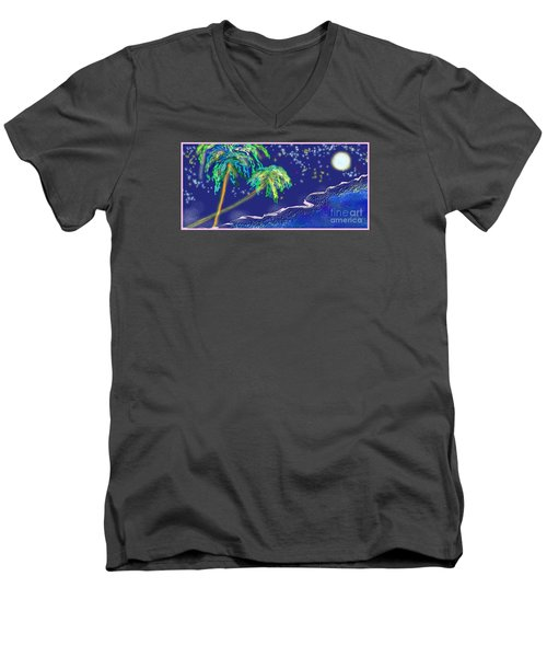 Men's V-Neck T-Shirt featuring the painting Noche Tropical by The Art of Alice Terrill