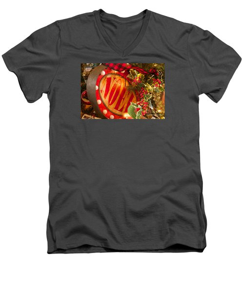 Men's V-Neck T-Shirt featuring the photograph Noel Sign by Vinnie Oakes