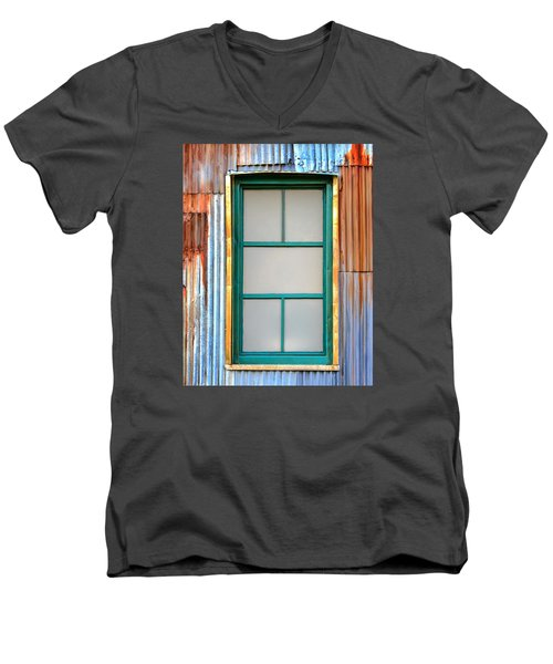 Men's V-Neck T-Shirt featuring the photograph Nonwindow Surrounded By Color by Gary Slawsky