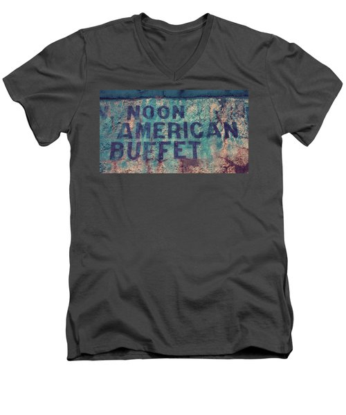 Noon American Buffet Men's V-Neck T-Shirt by Toni Hopper