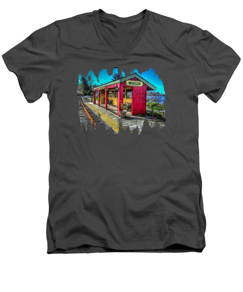 Men's V-Neck T-Shirt featuring the photograph Norm Laknes Train Station by Thom Zehrfeld