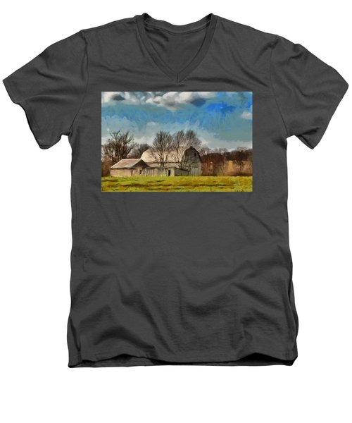 Men's V-Neck T-Shirt featuring the mixed media Norman's Homestead by Trish Tritz