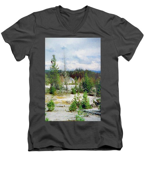 Norris Geyser Basin, Yellowstone National Park Men's V-Neck T-Shirt