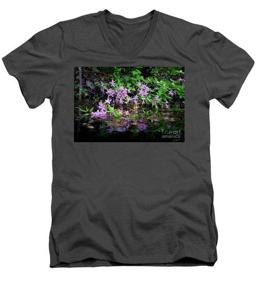 Norris Lake Floral 2 Men's V-Neck T-Shirt by Douglas Stucky