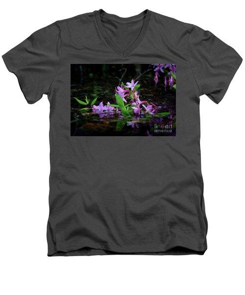 Norris Lake Floral Men's V-Neck T-Shirt by Douglas Stucky