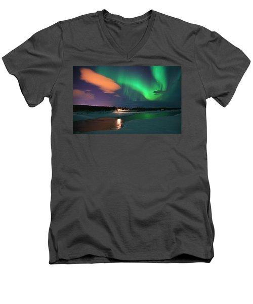 Norrsken 3 Men's V-Neck T-Shirt by Thomas M Pikolin