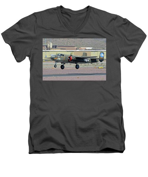 Men's V-Neck T-Shirt featuring the photograph North American B-25j Mitchell Nl3476g Tondelayo Deer Valley Arizona April 13 2016 by Brian Lockett