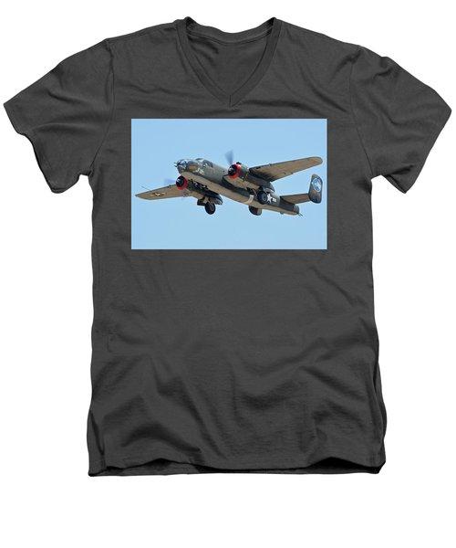 Men's V-Neck T-Shirt featuring the photograph North American B-25j Mitchell Nl3476g Tondelayo Phoenix-mesa Gateway Airport Arizona April 15, 2016 by Brian Lockett