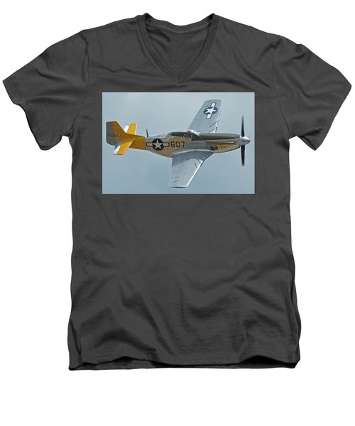 Men's V-Neck T-Shirt featuring the photograph North American P-51d Mustang Nl5441v Dolly/spam Can Chino California April 30 2016 by Brian Lockett