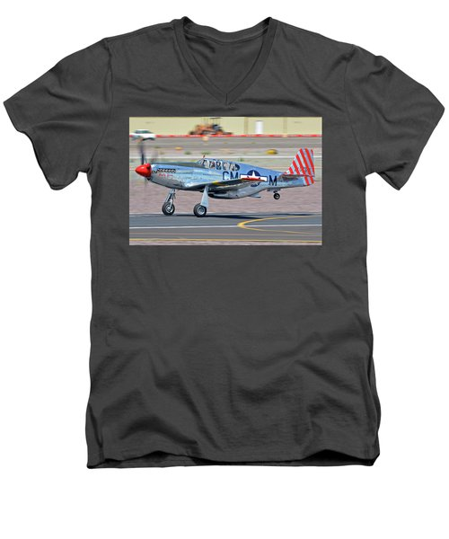 Men's V-Neck T-Shirt featuring the photograph North American Tp-51c-10 Mustang Nl251mx Betty Jane Deer Valley Arizona April 13 2016 by Brian Lockett