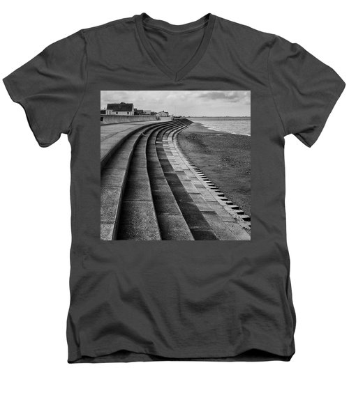 North Beach, Heacham, Norfolk, England Men's V-Neck T-Shirt by John Edwards