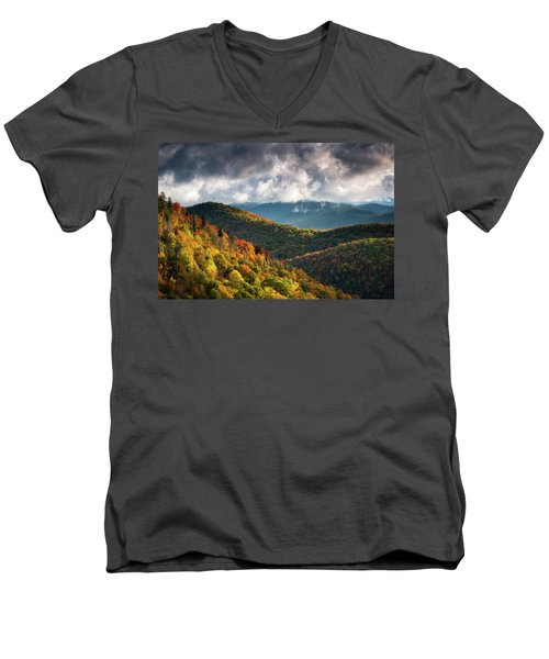 North Carolina Mountains Asheville Nc Autumn Sunrise Men's V-Neck T-Shirt