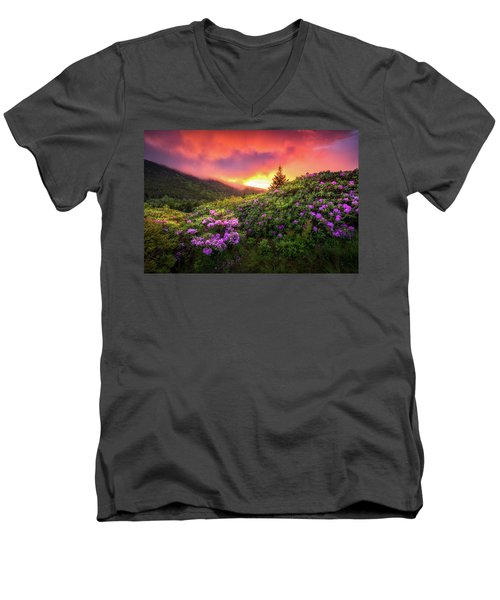 North Carolina Mountains Outdoors Landscape Appalachian Trail Spring Flowers Sunset Men's V-Neck T-Shirt