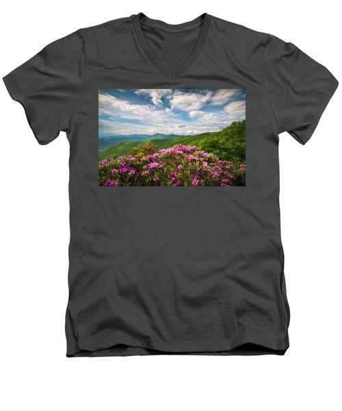 North Carolina Spring Flowers Mountain Landscape Blue Ridge Parkway Asheville Nc Men's V-Neck T-Shirt