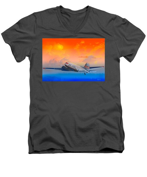 North Central Dc-3 At Sunrise Men's V-Neck T-Shirt