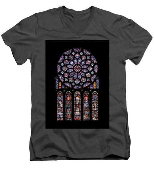 North Rose Window Of Chartres Cathedral Men's V-Neck T-Shirt