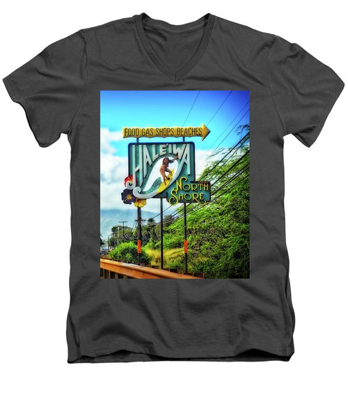 North Shore's Hale'iwa Sign Men's V-Neck T-Shirt by Jim Albritton