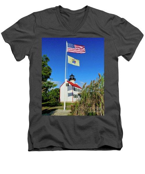 North Wind At East Point Light Men's V-Neck T-Shirt