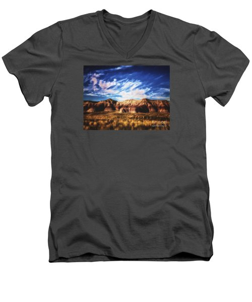 Men's V-Neck T-Shirt featuring the photograph Northern Arizona Painted Desert  ... by Chuck Caramella