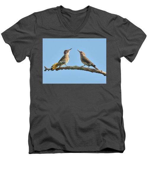 Northern Flickers Communicate Men's V-Neck T-Shirt by Alan Lenk