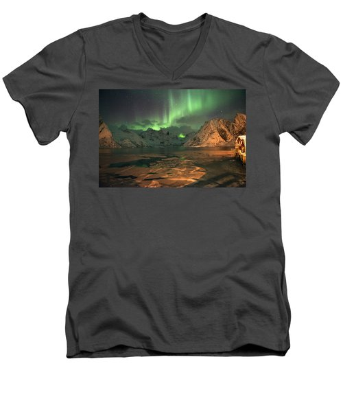 Northern Light In Lofoten, Nordland 1 Men's V-Neck T-Shirt by Dubi Roman