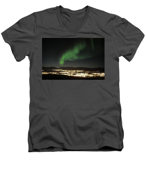 Northern Light In Troms, North Of Norway Men's V-Neck T-Shirt by Tamara Sushko