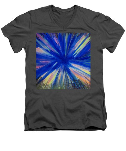 Men's V-Neck T-Shirt featuring the painting Northern Lights 3 by Cathy Long