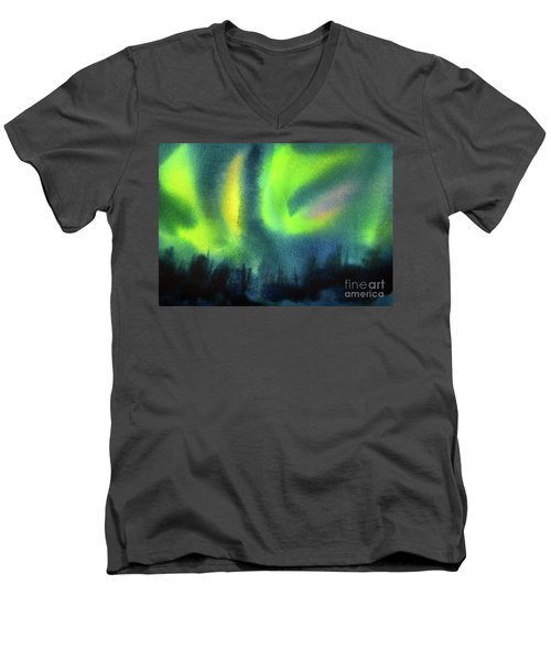 Men's V-Neck T-Shirt featuring the painting Northern Lights 3 by Kathy Braud