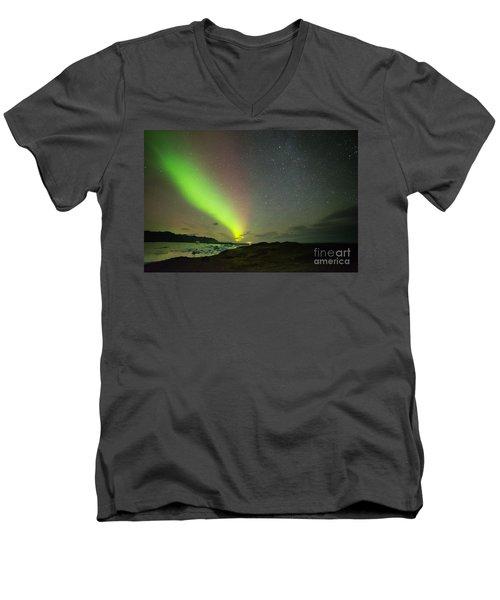 Men's V-Neck T-Shirt featuring the photograph Northern Lights 7 by Mariusz Czajkowski