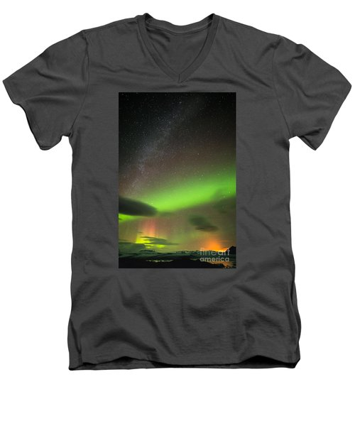 Men's V-Neck T-Shirt featuring the photograph Northern Lights 8 by Mariusz Czajkowski