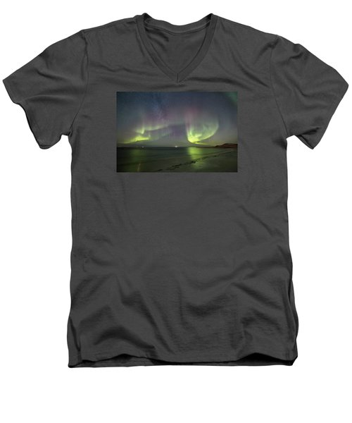 Northern Lights At The Beach II Men's V-Neck T-Shirt