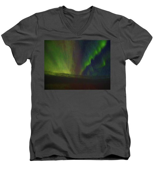 Northern Lights Or Auora Borealis Men's V-Neck T-Shirt by Allan Levin