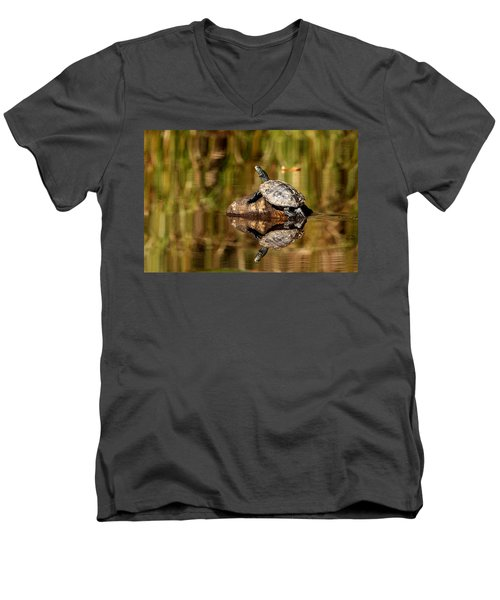 Men's V-Neck T-Shirt featuring the photograph Northern Map Turtle by Debbie Oppermann