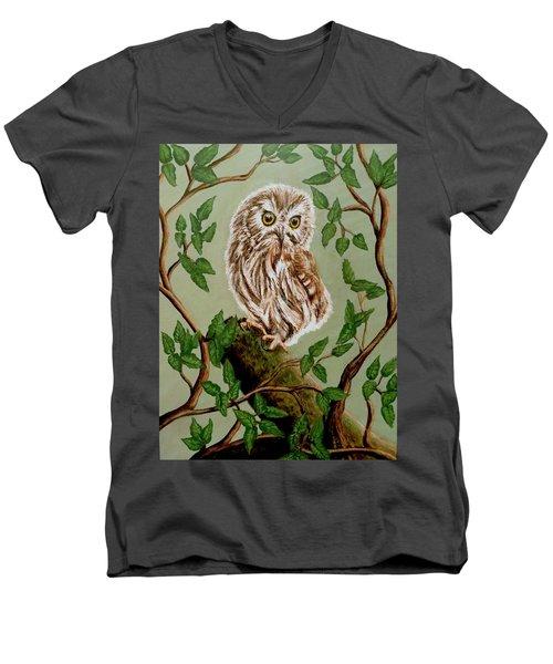 Northern Saw-whet Owl Men's V-Neck T-Shirt by Teresa Wing
