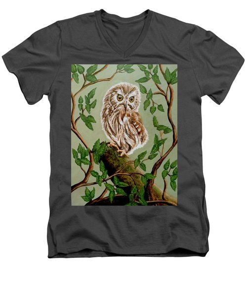 Northern Saw-whet Owl Men's V-Neck T-Shirt