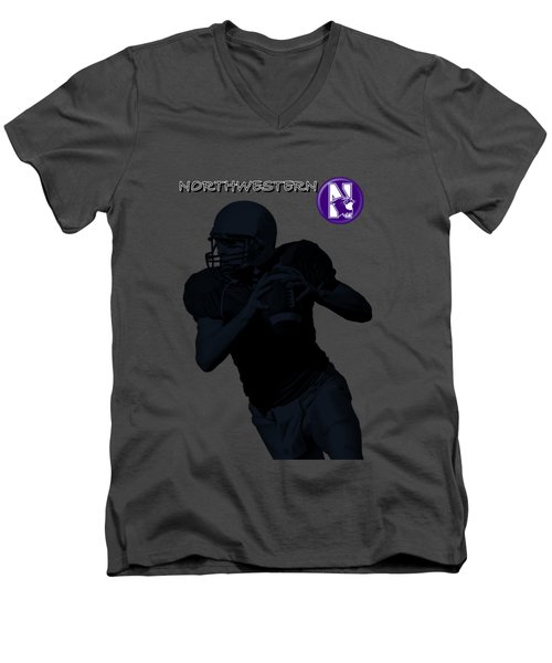 Northwestern Football Men's V-Neck T-Shirt by David Dehner