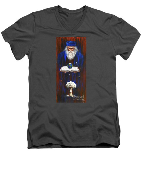 Men's V-Neck T-Shirt featuring the painting Nostradamus by Arturas Slapsys