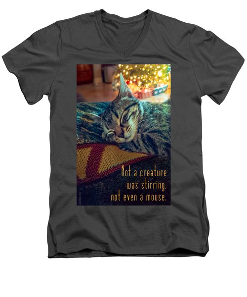 Not A Creature Was Stirring Men's V-Neck T-Shirt by Debbie Karnes