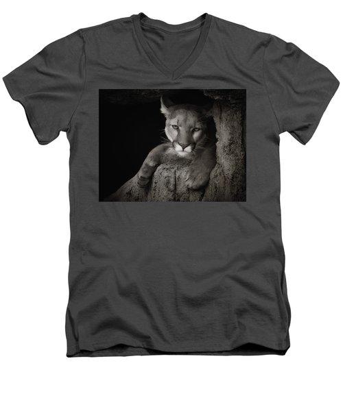 Not A Happy Cat Men's V-Neck T-Shirt by Elaine Malott