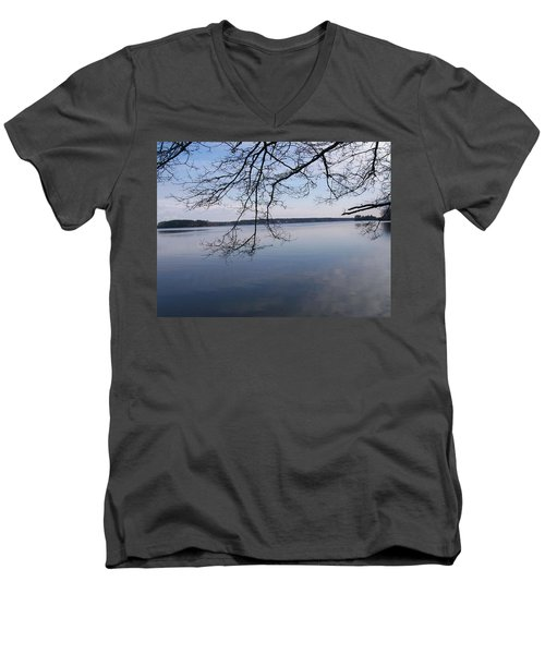 Men's V-Neck T-Shirt featuring the digital art Not A Ripple by Barbara S Nickerson