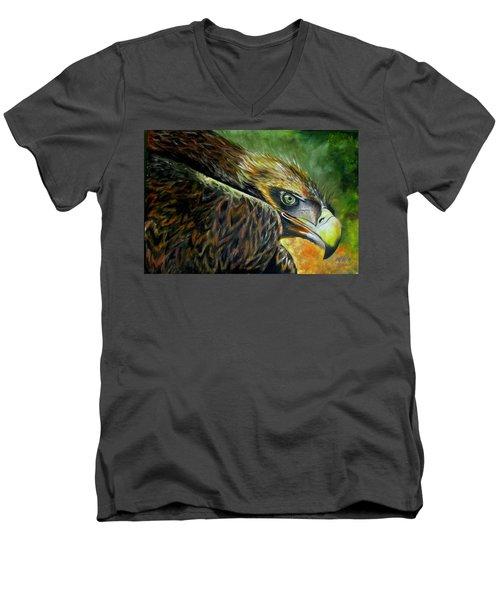 Not Happy Men's V-Neck T-Shirt by Ken Pridgeon