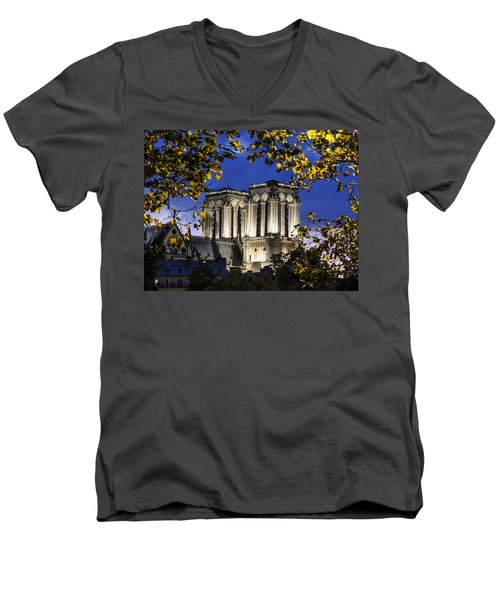 Notre Dame At Night Paris Men's V-Neck T-Shirt by Sally Ross