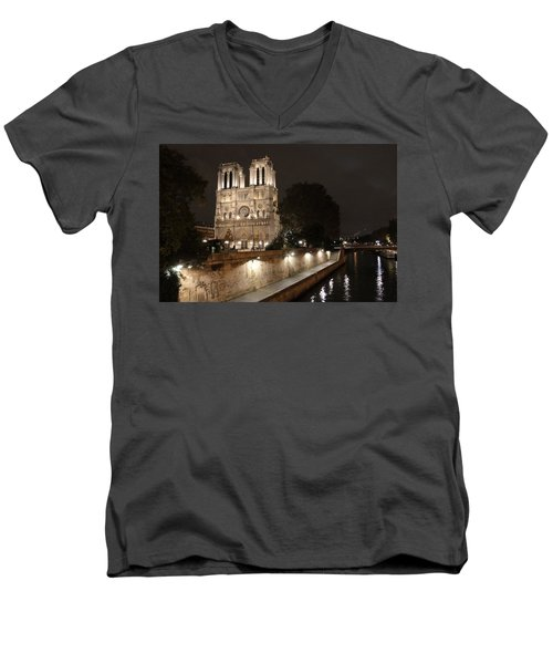 Men's V-Neck T-Shirt featuring the photograph Notre Dame Cathedral From Petit Pont by Christopher Kirby
