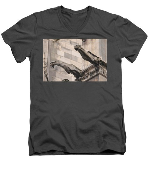 Notre Dame Cathedral Gargoyles Men's V-Neck T-Shirt by Christopher Kirby