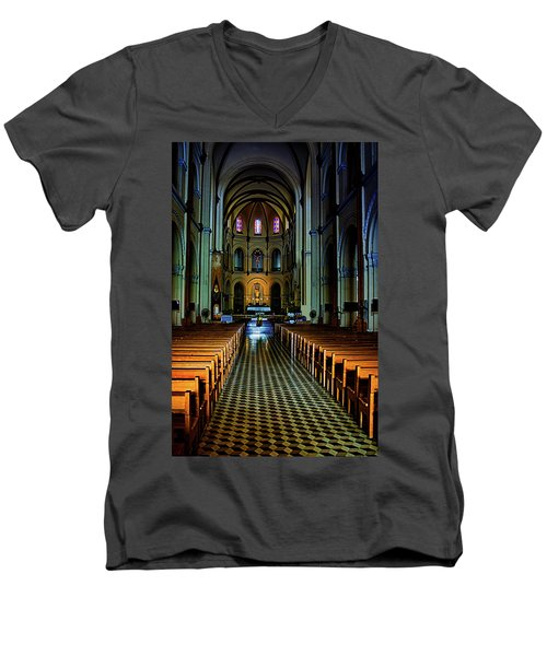 Men's V-Neck T-Shirt featuring the photograph Notre Dame Cathedral Saigon by Joseph Hollingsworth