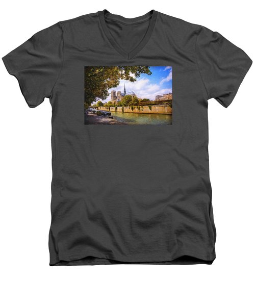 Men's V-Neck T-Shirt featuring the photograph Notre Dame by John Rivera